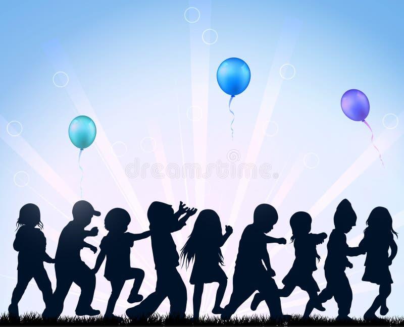 Kinder, die mit Ballonen tanzen lizenzfreie abbildung