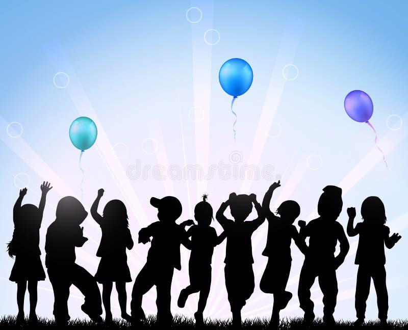 Kinder, die mit Ballonen tanzen vektor abbildung
