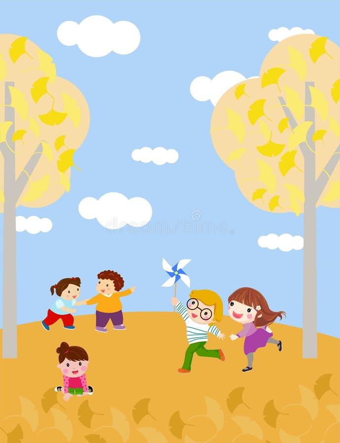 Kinder, die mit Herbst spielen stock abbildung