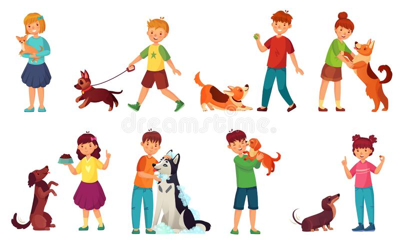 Kinder, die mit Hunden spielen Kinderernährungshund, Heimtiere interessieren sich und scherzen das Gehen mit netter Welpenkarikat vektor abbildung
