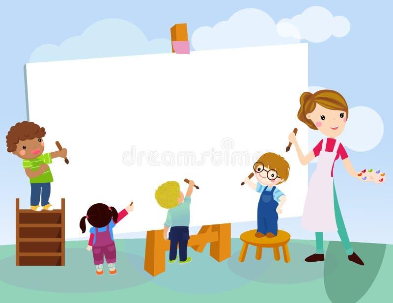 Kinder, die mit Lehrer zeichnen lizenzfreie abbildung