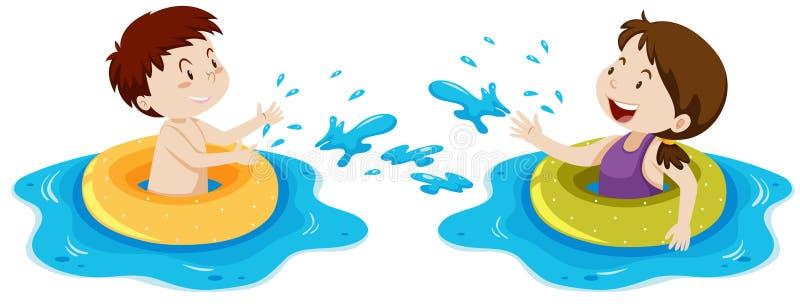 Kinder, die mit Schwimmring schwimmen vektor abbildung