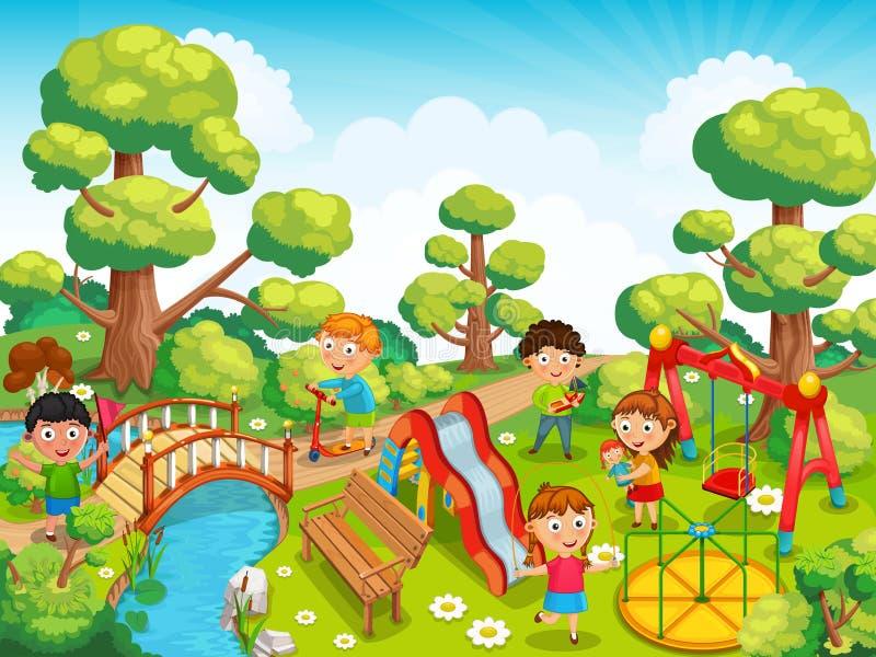 Kinder, die mit Spielwaren auf dem Spielplatz im Parkvektor spielen vektor abbildung