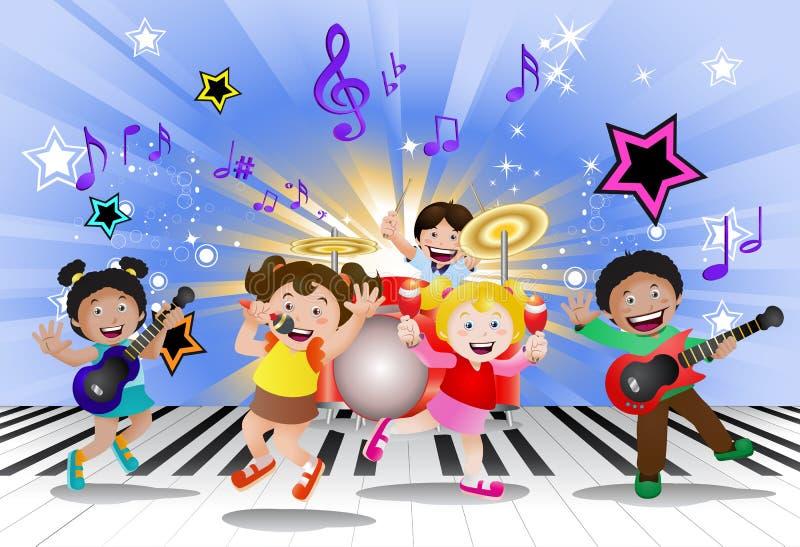 Kinder, die Musikinstrument spielen stock abbildung