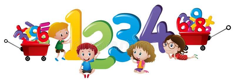 Kinder, die Nr. eine bis vier zählen stock abbildung
