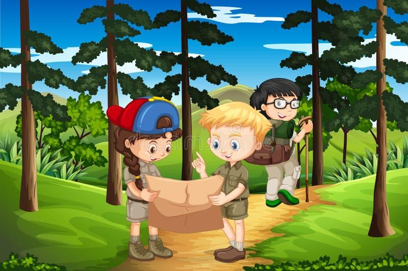 Kinder, die oben den Berg wandern vektor abbildung