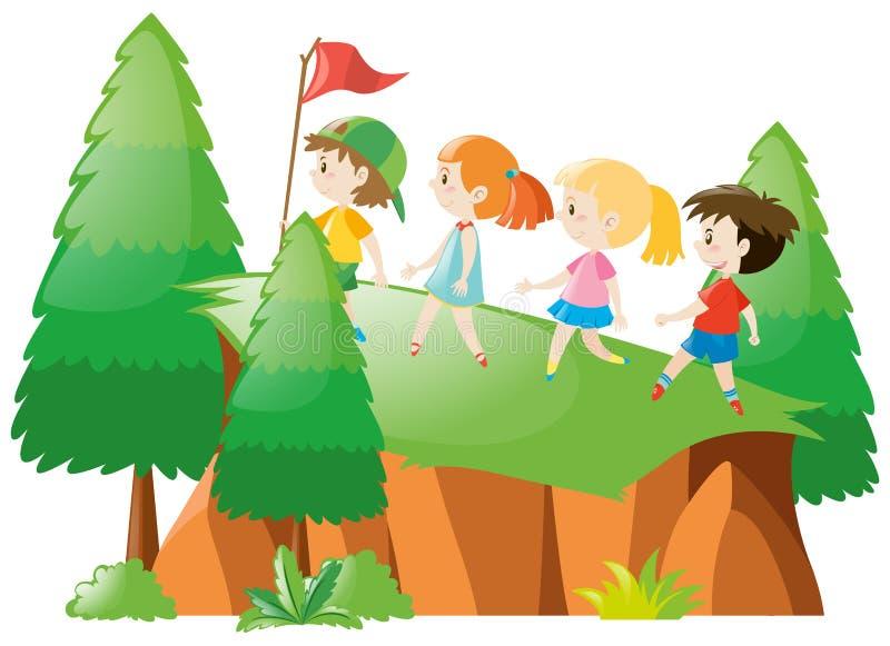 Kinder, die oben den Berg wandern lizenzfreie abbildung