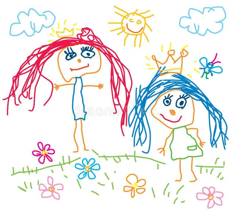 Kinder, die Prinzessin zeichnen lizenzfreie abbildung