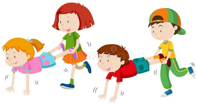 Kinder, die Radkarren spielen stock abbildung