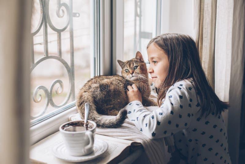 Kinder, die sich mit einer Katze auf einer Fensterbank entspannen stockfotografie