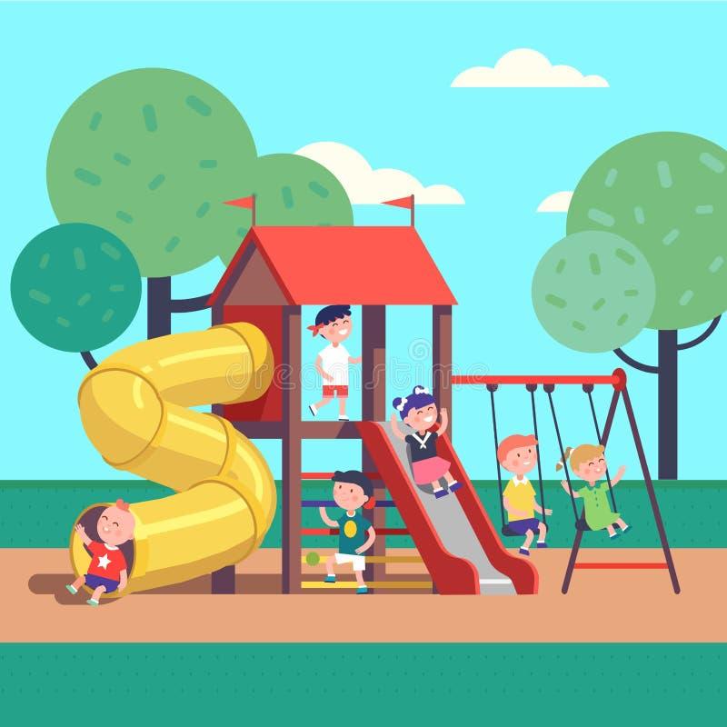 Kinder, die Spiel auf einem Spielplatz des allgemeinen Parks spielen lizenzfreie abbildung