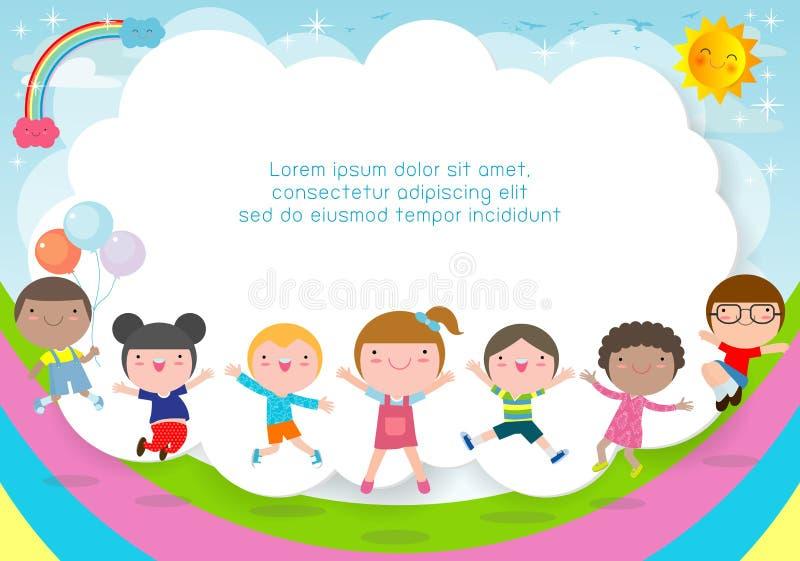 Kinder, die spielen, glückliche Kinder der Karikatur, die Sommerhintergrund Schablone für Werbungsbroschüre springen, Ihr Text, K lizenzfreie abbildung
