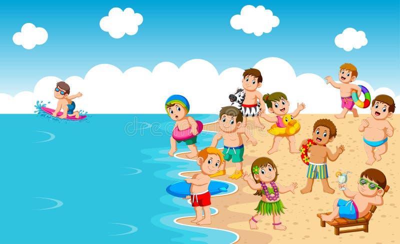 kinder die an strand und meer spielen vektor abbildung
