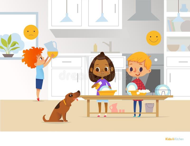 Kinder, die tägliche Routinetätigkeiten in der Küche tun Zwei Kinder, die Teller waschen und roter Hauptjunge, der Pitcher mit Or lizenzfreie abbildung