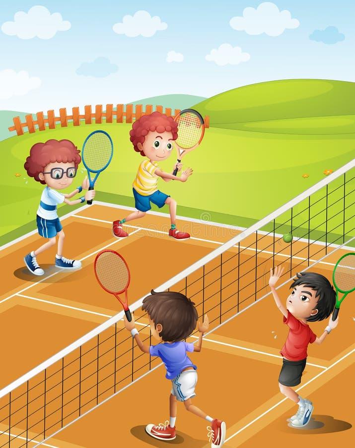 Kinder, die Tennis am Gericht spielen stock abbildung