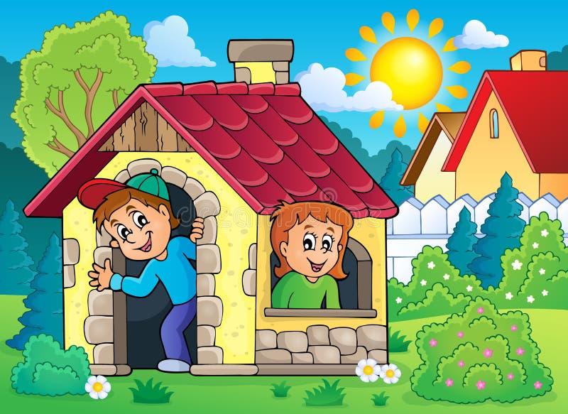 Kinder, die in Thema 2 des kleinen Hauses spielen lizenzfreie abbildung