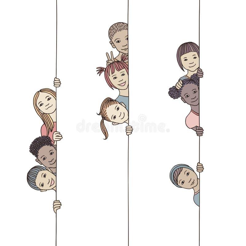 Kinder, die um die Ecke schauen stock abbildung