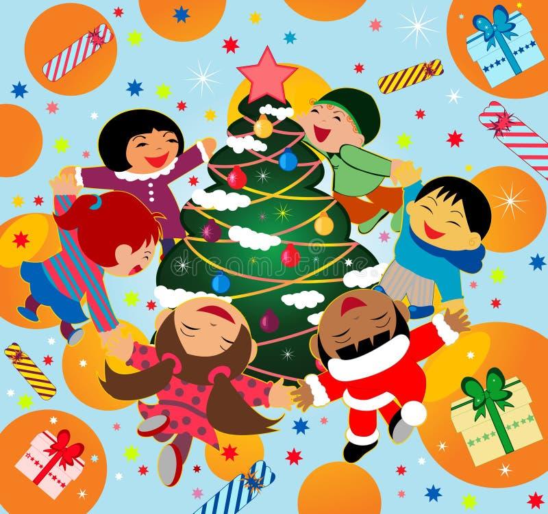 Kinder, die um einen Weihnachtsbaum tanzen vektor abbildung