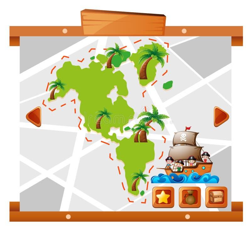 Kinder, die um großes Land segeln lizenzfreie abbildung