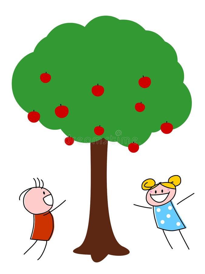 Kinder, die unter Apfelbaum spielen vektor abbildung