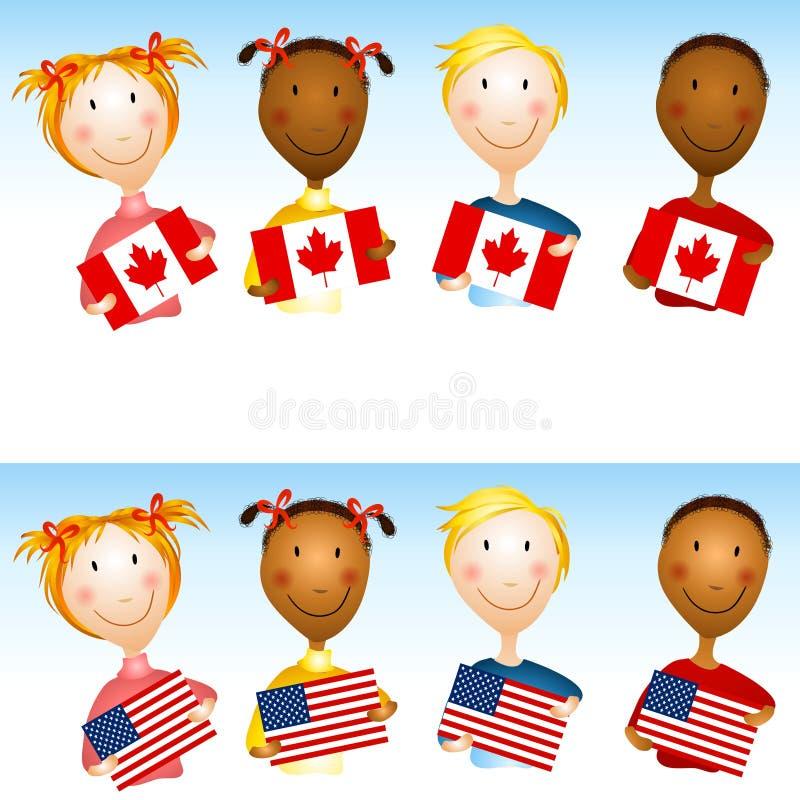 Kinder, die US-Kanadier-Markierungsfahnen anhalten stock abbildung