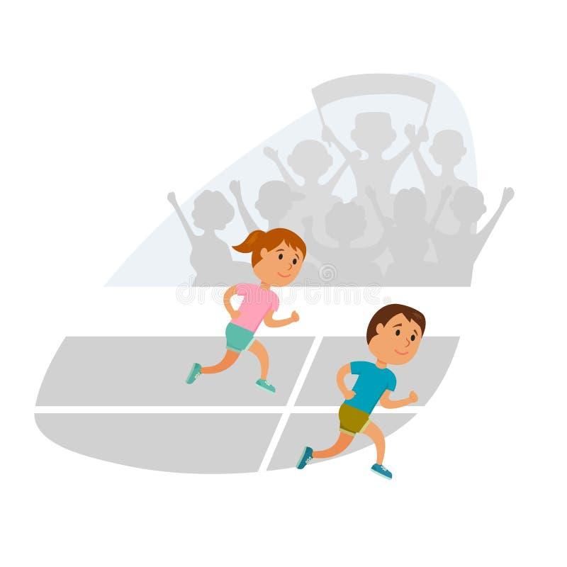 Kinder, die Vektor laufen lassen stock abbildung