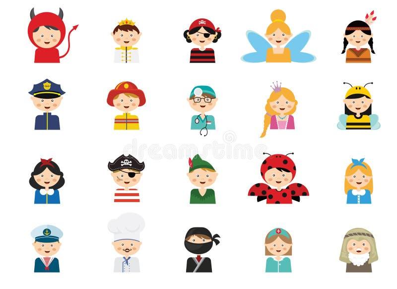 Kinder, die verschiedene Kostüme tragen stock abbildung