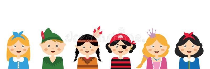 Kinder, die verschiedene Kostüme tragen Fahnenschablone vektor abbildung