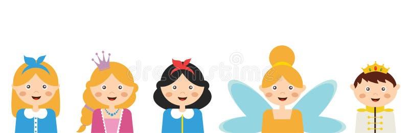Kinder, die verschiedene Kostüme tragen Fahnenschablone stock abbildung