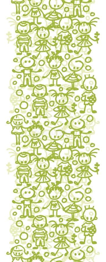 Kinder, die vertikale nahtlose Musterhintergrundgrenze spielen vektor abbildung