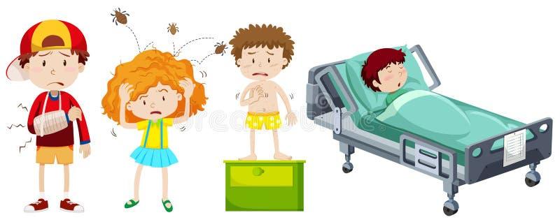 Kinder, die von der unterschiedlichen Krankheit krank sind stock abbildung