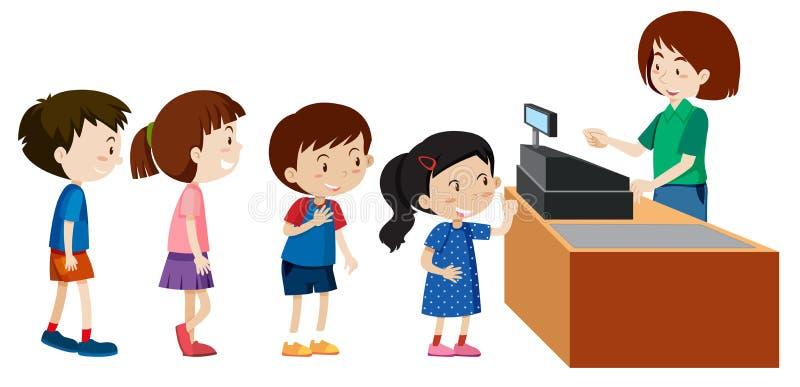 Kinder, die von einem Kassierer kaufen lizenzfreie abbildung