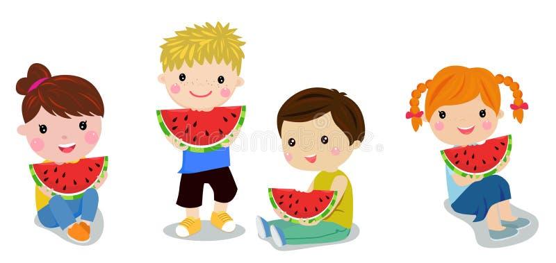 Kinder, die Wassermelone essen vektor abbildung