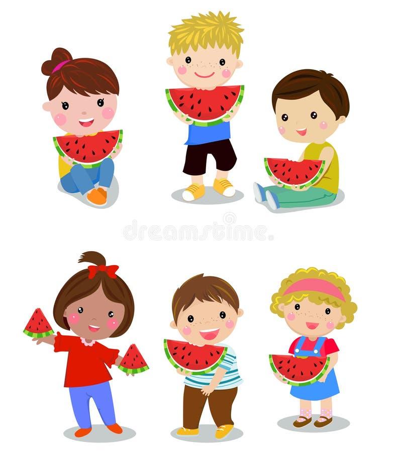 Kinder, die Wassermelone essen stock abbildung