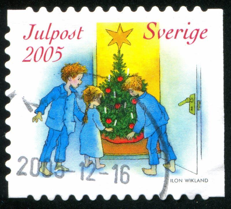 Kinder, die Weihnachtsbaum betrachten lizenzfreies stockfoto