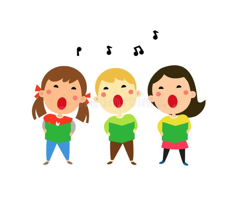 Kinder, die Weihnachtslieder singen lizenzfreie abbildung