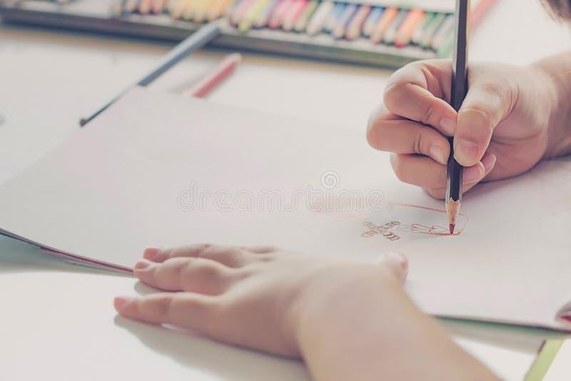 Kinder, die Weinleseart zeichnen lizenzfreie stockbilder
