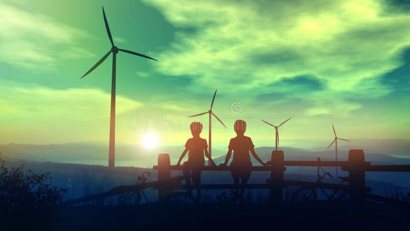 Kinder, die Windkraftanlagen gegen den Sonnenunterganghimmel aufpassen stockfotos
