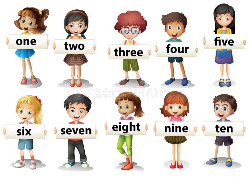 Kinder, die Wortkarten mit Zahlen halten stock abbildung