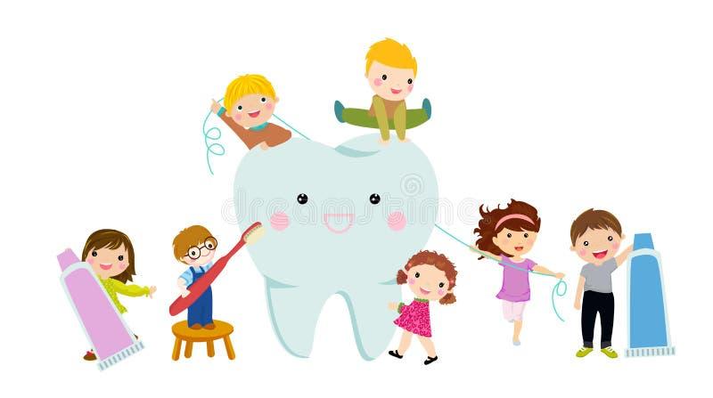 Kinder, die Zähne mit Zahnbürste säubern vektor abbildung