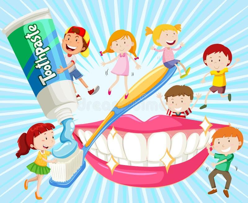 Kinder, die Zähne mit Zahnbürste säubern lizenzfreie abbildung