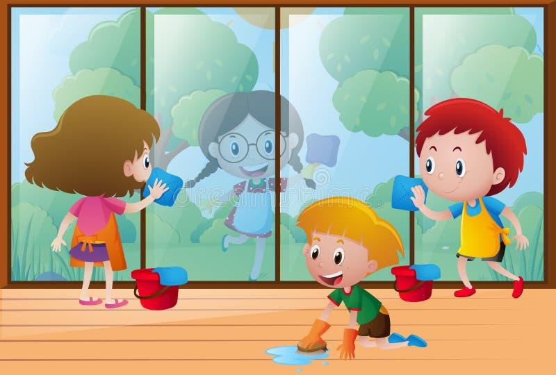 Kinder, die zu Hause Fenster säubern stock abbildung
