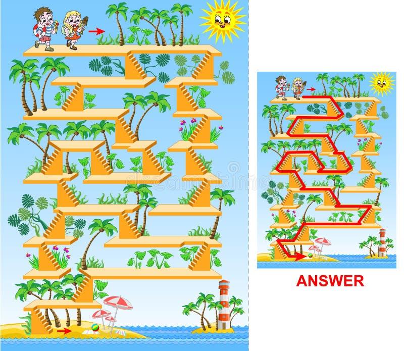 Kinder, die zum Strand - Labyrinthspiel für Kinder gehen lizenzfreie abbildung