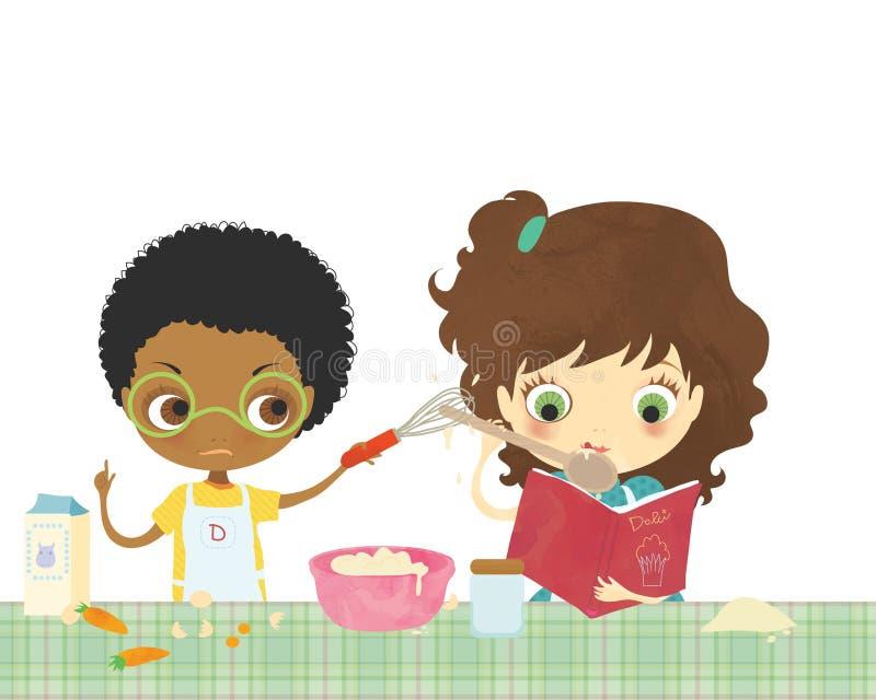 Kinder, die zusammen kochen stockbilder