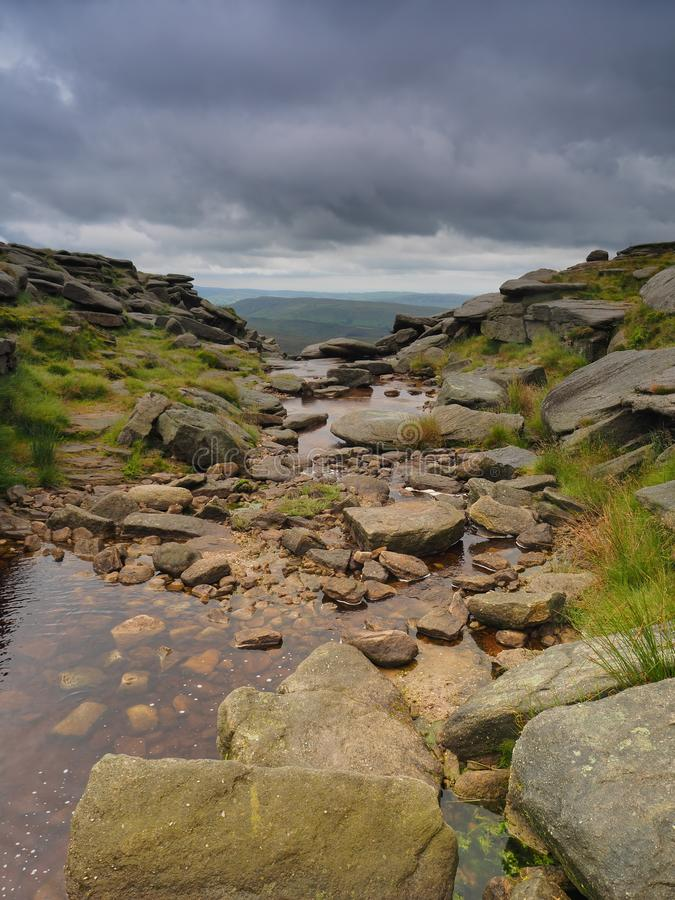 Kinder Downfall on the Pennine Way with dark storm clouds overhead, Peak District National Park, UK stock photo