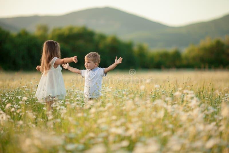 Kinder ein Junge und ein Mädchen umarmen und küssen sich freundlich in einem blühenden Feld vor dem Hintergrund hügeliger Berge stockbilder