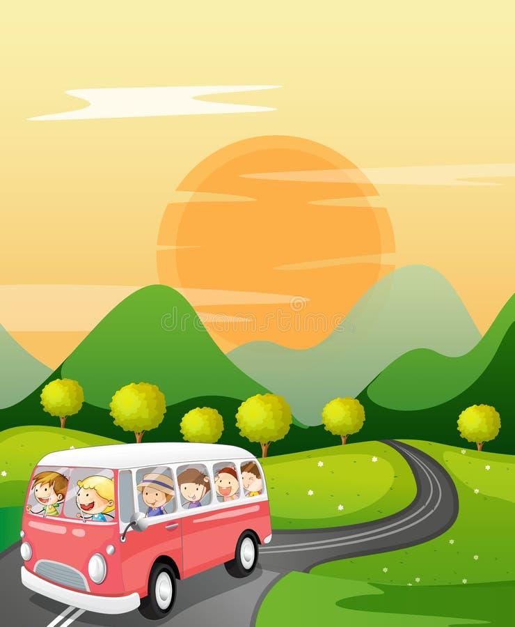 Download Kinder in einem Bus vektor abbildung. Illustration von himmel - 26352218