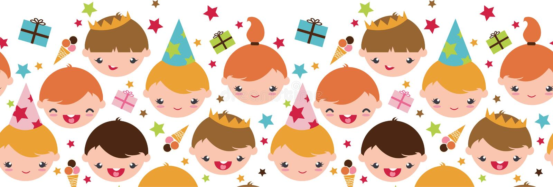 Kinder an einem horizontalen nahtlosen der Geburtstagsfeier stock abbildung