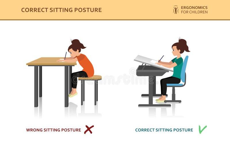 Kinder ergonomisch Falsche und korrekte Sitzenhaltung stock abbildung