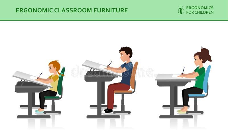 Kinder ergonomisch Falsche und korrekte Sitzenhaltung vektor abbildung